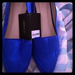 Blue faux suede shoes